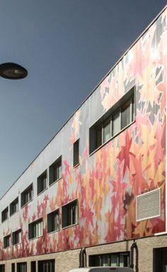 Collège Saint-Exupéry, Hellemmes (59) - Bardage Rapporté Ventilé Danpalon® BRV 10, 600 mm, cristal sérigraphié, 1200 m²