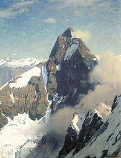 Premium Giclee Print: Matterhorn from West Wall Art by Eugen Bracht by Eugen Bracht : Mountain Art, Mountain Landscape, Traditional Paintings, Traditional Art, Abstract Landscape, Landscape Paintings, Munier, Illustration Art, Illustrations