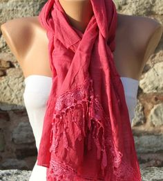 Hot Pink  Shawl Scarf -y by fatwoman, $17.00