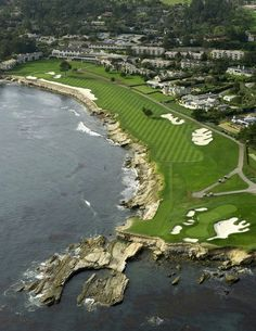 Finishing hole at Pebble Beach.  I would send at least two into the Pacific Ocean and certainly land in that long bunker on the left.