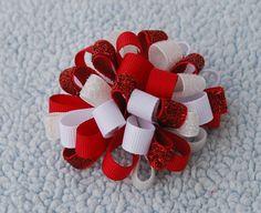 Valentine's ribbon puff hair clip