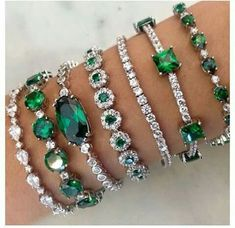 Emeralds and diamond bracelets