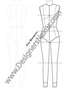 Front back poses female croqui fashion sketch template for Fashion designing templates free download
