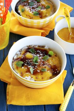 Coconut Rice Pudding With Mango Puree and Rum Caramel Sauce | Apron and Sneakers