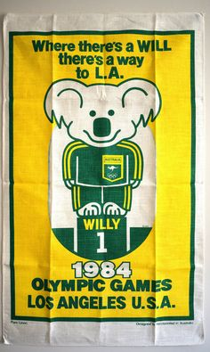 1984 Olympic Games Los Angeles USA Linen Tea Towel - Vintage Willy 1 Australia Souvenir Tea Towel - New Old Stock & Mint Condition!
