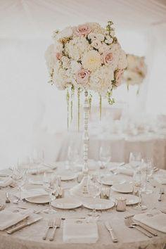 Soft elegant centerpiece with hanging amaranths