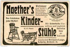 Original-Werbung/Inserat/ Anzeige 1902  : NAETHER'S KINDERSTÜHLE / HERMANN LANGE LEIPZIG ca. 90 x 40 mm