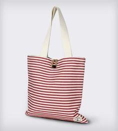 Reversible Burlap Tote Bag: Red Twill Stripes & Natural Burlap | Women's BAGS & ACCESSORIES | Lady Alamo | Scoutmob Shoppe | Product Detail