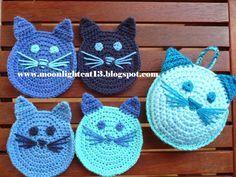 Crochet cat coaster