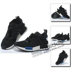 check out 2fff0 bb63a Adidas NMD R1 Primeknit Dernier Chaussure Enfant Noir Bleu Blanche  aditrace