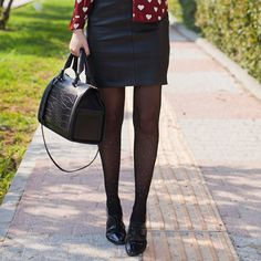 Polka Dot Tights Outfit by Tie Bow-Tie - TrendyLegs Funky Tights, Sheer Tights, Black Tights, Polka Dot Tights, Polka Dots, Tights Outfit, Russian Fashion, Lookbook, Leather Skirt
