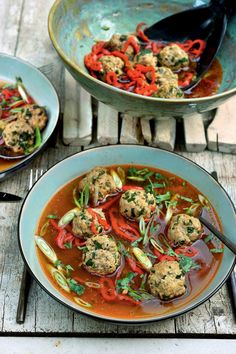 Low-Carb Meatballs in Ginger-Soy Broth — Recipe — Diet Doctor Pureed Food Recipes, Cooking Recipes, Healthy Recipes, I Want Food, Love Food, Diet Doctor Recipes, Slow Cooker, Feta, Go For It