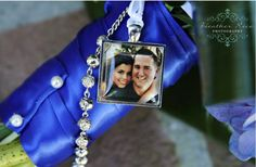 """Add a unique touch to your bridal bouquet by attaching your engagement photo.  This is a wonderful keepsake to cherish in years to come.  Your photo is placed under a 1"""" x 1"""" square glass tile and set into a silver plated tray.  Include photos of me and mom."""