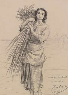 Study for Glaneuse.by Jules Breton - Cd Paintings Figure Sketching, Figure Drawing, Line Drawing, Portrait Sketches, Art Drawings Sketches, Jules Breton, Rembrandt Drawings, Landscape Pencil Drawings, Art Inspiration Drawing