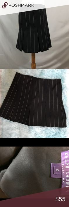 Ralph Lauren Collection wool skirt size 10 Ralph Lauren Collection skirt. Size 10. In excellent new like condition. Length 16.5, waist 16.5. Lined. 100 percent wool. Thanks for looking! Happy Poshing! 👠👗❤️ Ralph Lauren Purple Label Skirts