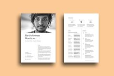 Free designer resume template with impressive design for your next opportunity. Available in indesign file format, it come with a lot of originality and Indesign Resume Template, Resume Template Examples, Simple Resume Template, Resume Design Template, Cv Template, Creative Resume Templates, Adobe Indesign, Resume Cv, Free Resume