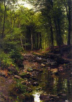 Peder Mørk Mønsted – private collection. Skovstraekning/Woodland Landscape (1907)