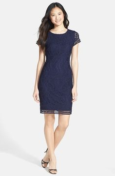 Free shipping and returns on Laundry by Shelli Segal Lace Sheath Dress (Petite) at Nordstrom.com. Rose-embroidered lace romances a gorgeous sheath complemented by a peekaboo contrast border around the short-sleeve cuffs and hemline. A round back keyhole adds a flirty finish.