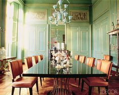 Decorating with Green: Yves Gastou Antique Dining Room