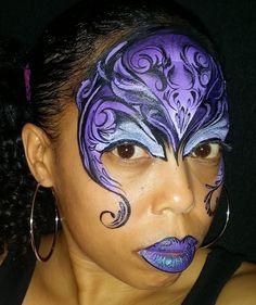 #Facepaint: Purple swirl Mask design for FunnycheeksTJ #EFPUpaints.