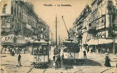 « Sur la Canebière, il suffit de s'installer à une terrasse de café pour voir défiler le monde entier ». Canebiere 1930 Marseille