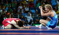 Helen Maroulis of the U.S., right, celebrates after beating Japan's Saori…