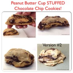 Peanut Butter Cup STUFFED Chocolate Chip Cookies!  This recipe is a total GAME CHANGER! http://www.drsarasolomon.com/peanut-butter-cup-stuffed-chocolate-chip-cookies/