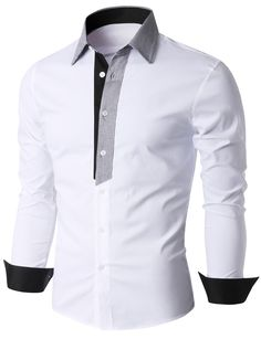 Doublju Men's Contrast Collar and Placket Long Sleeve Dress Shirt (KMTSTL0185) #doublju
