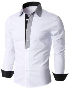 Doublju Men's Contrast Collar and Placket Long Sleeve Dress Shirt (KMTSTL0185) #doublju