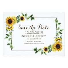 Fall Sunflower Rustic Barn Wedding Save the Date Card - winter wedding diy marriage customize personalize couple idea individuel