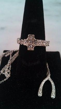NEW! $30 for set Diamond Cross Stretch Ring & Wishbone Necklace <3 www.TotallySassy.com