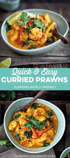 This delicious coconut shrimp curry is ready in 20 minutes! Recipes shrimp Quick and easy curried prawns - Supergolden Bakes Seafood Curry Recipe, Curry Recipes, Vegetarian Recipes, Cooking Recipes, Healthy Recipes, Asian Prawn Recipe, Savoury Recipes, Cookbook Recipes, Healthy Options