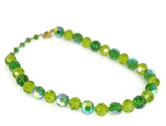 Green Crystal Necklace VENDOME Aurora Borealis by ForgottenCotton
