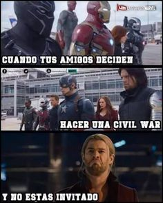 Read Pobre Thor from the story Memes Civil War by VictoriaBarquin (Victoria Barquin) with reads. Mundo Marvel, Marvel Funny, Marvel Dc Comics, Avengers Memes, Marvel Memes, Marvel Universe, Best Memes, Funny Memes, Geeks