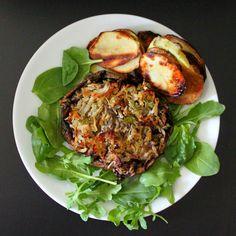Portabella stuffed with Hash browns. Vegan Gluten-free recipe.