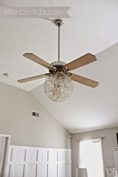 Little Brick House: Ceiling Fan Makeover Bedroom Ceiling Fan Light, Home Ceiling, Modern Ceiling, Ceiling Fans, Ceiling Fan Blade Covers, Ceiling Fan Blades, Fan Light Covers, Orb Light, Ceiling Fan Makeover