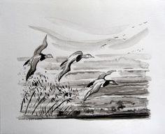 Tableaux peinture zen à l'encre noire sumi-e de l'artiste ELLHËA