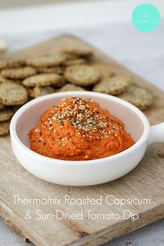 This Thermomix Roasted Capsicum & Sun-Dried Tomato Dip is always a hit! It's the perfect addition to any cheese platter - simply serve with crackers! Dip Recipes, Other Recipes, Cooking Recipes, Healthy Recipes, Roasted Capsicum, Roasted Tomatoes, Sundried Tomato Dip, Cheese Platters, Sun Dried