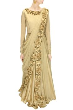 DRAPE 'N' DRAMA : Beige dabka and thread embroidered draped anarkali set by J by Jannat. Shop at www.perniaspopups.... #designer #jbyjannat #festive #couture #shopnow #perniaspopupshop #happyshopping