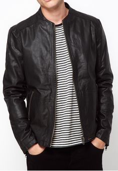 Jackets For Stylish Men. Jackets are a very important part of every single man's set of clothing. Men need to have outdoor jackets for a variety of activities as well as some varying weather conditions. Brown Leather Jacket Men, Classic Leather Jacket, Lambskin Leather Jacket, Vintage Leather Jacket, Leather Men, Leather Jackets, Biker Leather, Black Leather, Black Denim