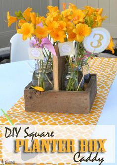 The perfect centerpiece for a rustic wedding or party! Free Plans for a DIY square planter box caddy that holds 4 quart mason jars. Wood Box Centerpiece, Party Table Centerpieces, Mason Jar Centerpieces, Cheap Mason Jars, Mason Jar Diy, Decor Crafts, Easy Crafts, Diy And Crafts, Wood Crafts