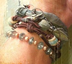 ❥ nina bagley...like the combination of leather, metal, fabric and beads