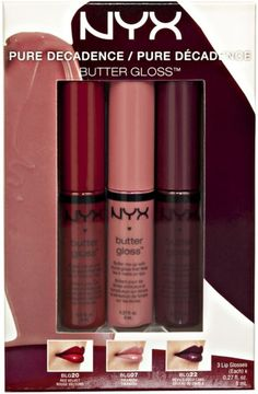 Available at Ulta and Ulta.com for holiday 2014: Nyx Butter Lipgloss Pure Decadence set, which includes Devil's Food Cake, Red Velvet, and Tiramisu