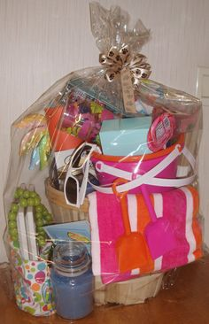"""This year our themed raffle basket is, """"Beach Party"""". Bring in anything having to do with going to the beach. Items may include: *Beach Umb. Beach Gift Basket, Dyi Gift Baskets, Theme Baskets, Holiday Baskets, Themed Gift Baskets, Basket Crafts, Raffle Baskets, Basket Gift, Beer Basket"""