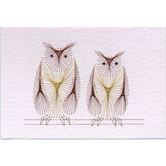 Stitched cards - Two Owls