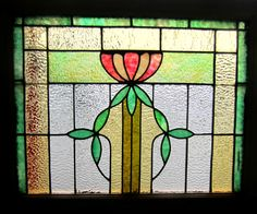 Antique American Stained Glass Window Tulip Architectural Salvage