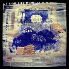 4th June - Springwatch Chicks need singing lessons - bic and collage on newspaper