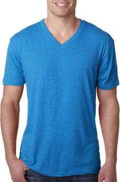next level men's tri-blend v - vintage turquoise (s)