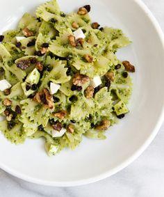 Arugula Pesto Pasta Salad with Mozzarella, Toasted Walnuts, and Black Currants