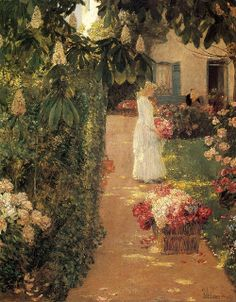 Frederick Childe Hassam - Gathering Flowers in a French Garden Born on October 17, 1859